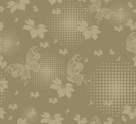 seamless floral creative decorative abstract background with butterfly Vector