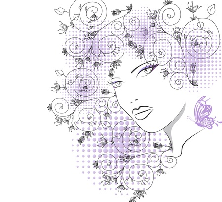 silhouette of pretty attractive girl with butterfly Stock Vector - 9230574