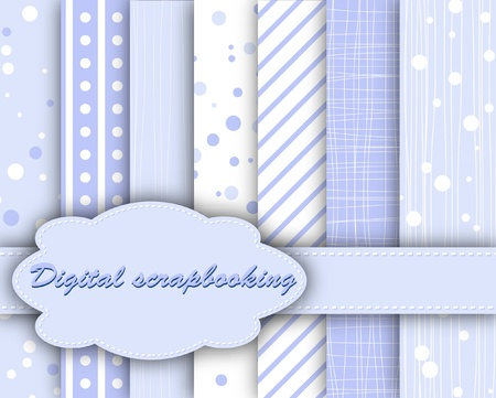 compendium: set of blue paper for scrapbook  Illustration