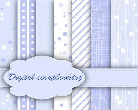 set of blue paper for scrapbook  Illustration