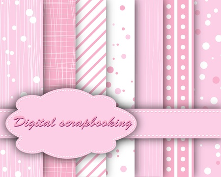 set of pink paper for scrapbook  Illustration