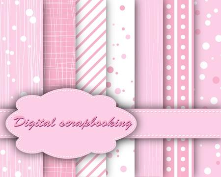 compendium: set of pink paper for scrapbook  Illustration