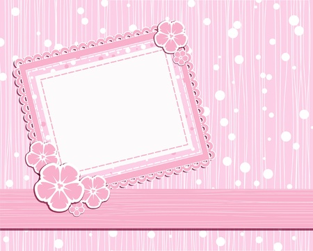 baby girl background: template foto card for scrapbook  Illustration
