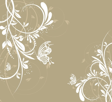 flower line: flower creative decorative abstract background butterfly