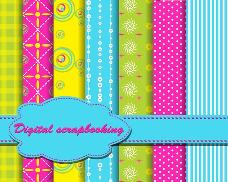 set of vector funny paper for scrapbook
