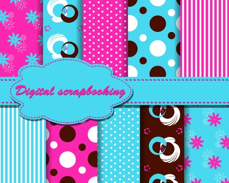 set of vector funny paper for scrapbook Vector