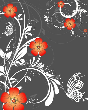 flower background: vector floral decorative abstract background with butterfly