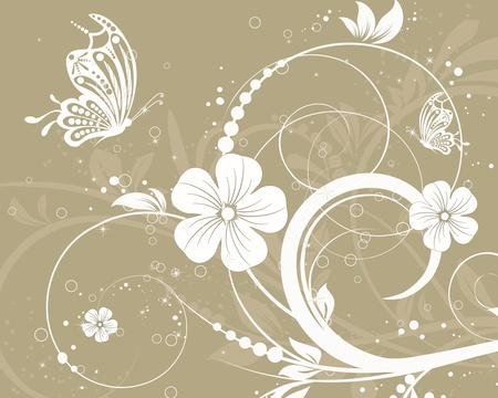 white flowers: vector floral decorative abstract background with butterfly