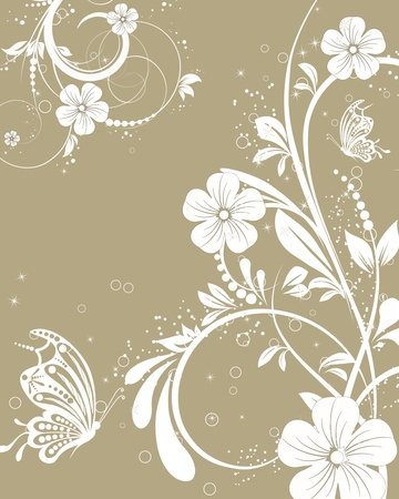 vector floral decorative abstract background with butterfly Vector