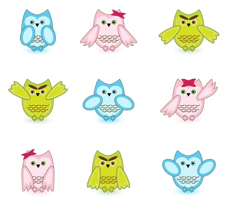set of vector cute wise owls on white background Stock Vector - 10033372