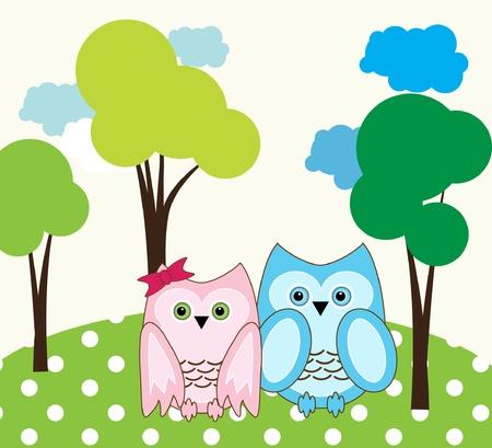 vector cute wise owls fallen in love Stock Vector - 10033262