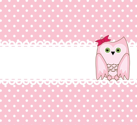 feathered: vector cute wise owls background for scrapbook
