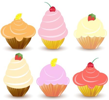Set of 6 cute vector cupcakes Stock Vector - 10033487