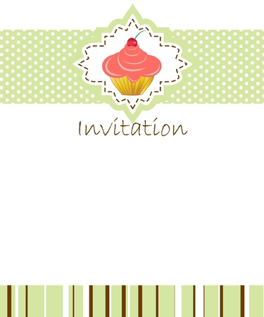 fairycake: vector invitation wiht cake on decorative background