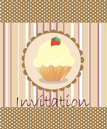 vector invitation wiht cake on decorative background Stock Vector - 10033489