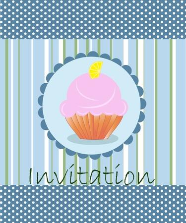 vector invitation wiht cake on decorative background Vector