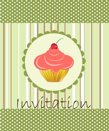 vector invitation wiht cake on decorative background Stock Vector - 10033491
