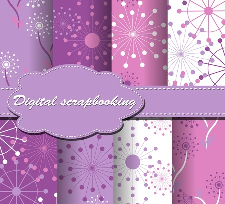 compendium: set of flower vector paper for scrapbook