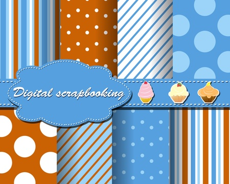 set of flower paper for scrapbook with cake Vector