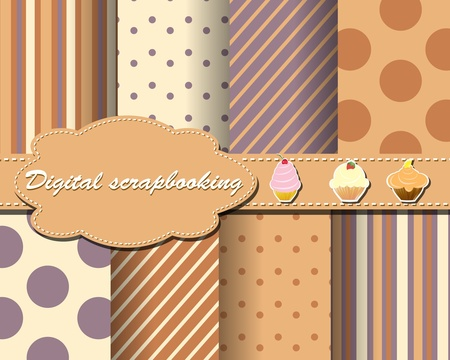 set of flower paper for scrapbook with cake Illustration