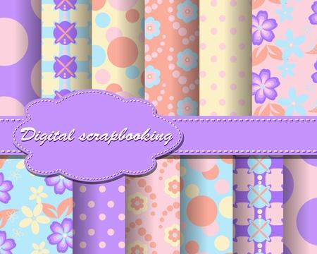 scrapbook paper: set of flower paper for scrapbook