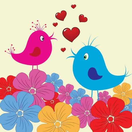 cute birds fallen in love Vector