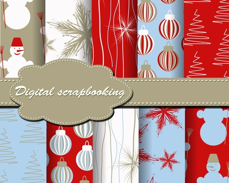 set of Christmas paper for scrapbook Vector