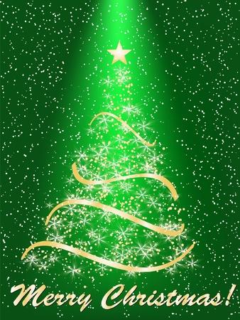 merrily: stilizzato albero di Natale su sfondo decorativo Vettoriali