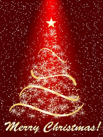 beautifully: stylized Christmas tree on decorative background