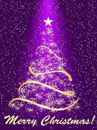 stylized Christmas tree on decorative background Vector