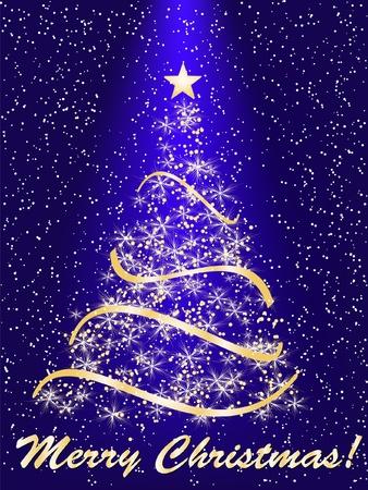 merrily: albero di Natale stilizzato su sfondo decorativo