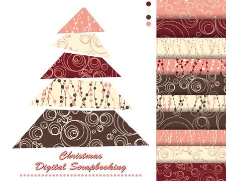scrapbook paper: set of Christmas vector paper for scrapbook