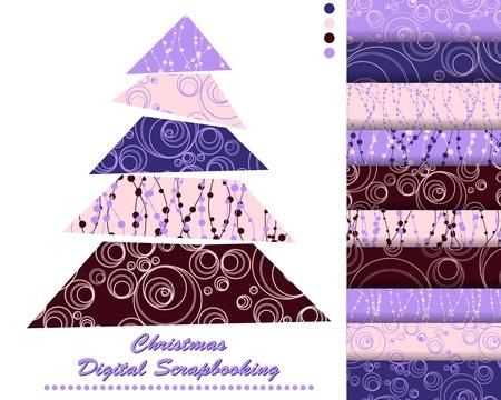 set of Christmas vector paper for scrapbook Vector