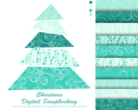 set of Christmas vector paper for scrapbook