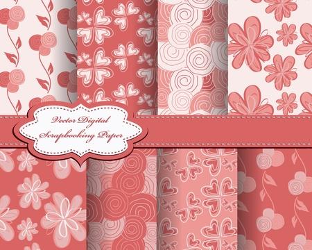 set of flower paper for scrapbook Vector