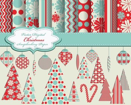 set of Christmas vector paper and clip art for scrapbook Ilustrace