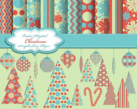 set of Christmas vector paper and clip art for scrapbook Vector