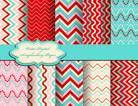 compendium: set of zig zag vector paper for scrapbook Illustration