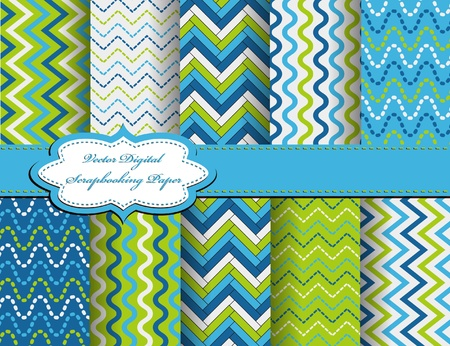 set of zig zag vector paper for scrapbook Ilustrace