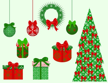 paper clip: set of Christmas vector clip art for scrapbook
