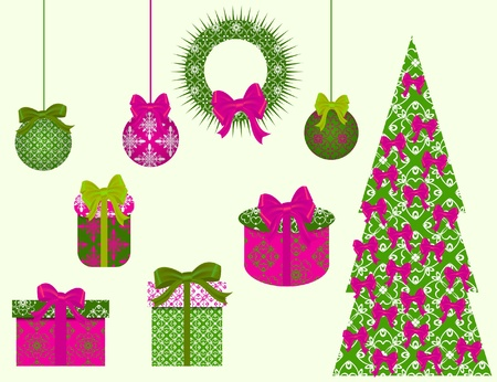 flower clip art: set of Christmas vector clip art for scrapbook