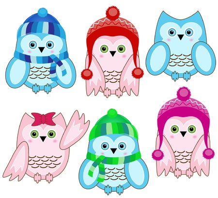 set of vector cute winter wise owls on white background Vector