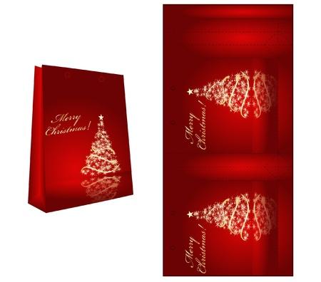 printable: Printable vector cute christmas gift box blank template  Illustration