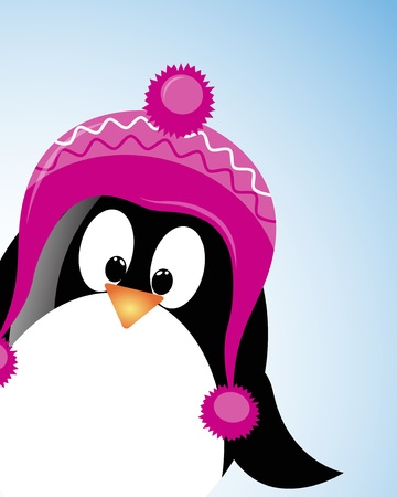 vector Christmas background with pinguin