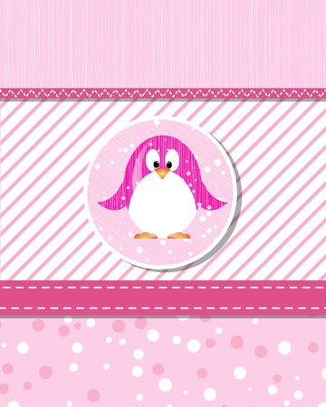 pinguin: vector flower scrapbook background with pinguin