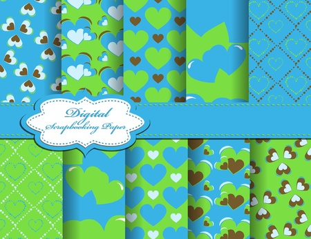set of Valentines day paper for scrapbook Vector