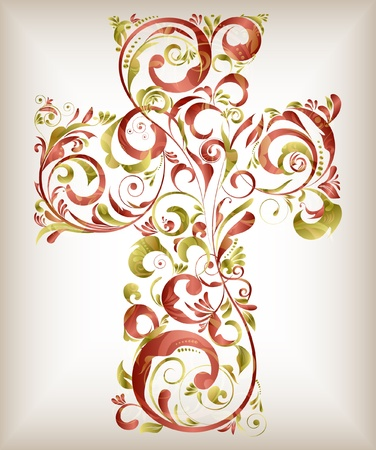 floral cross  Stock Vector - 11847634