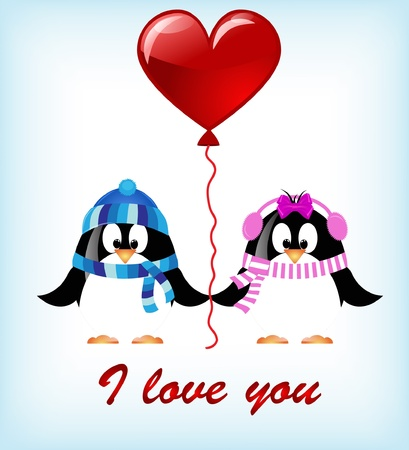 vector Valentines day penguins Vector