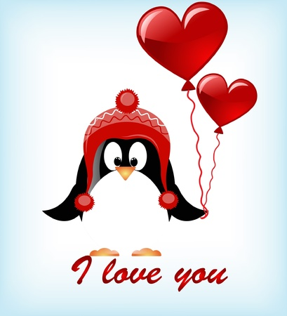 compendium: vector Valentines day penguins