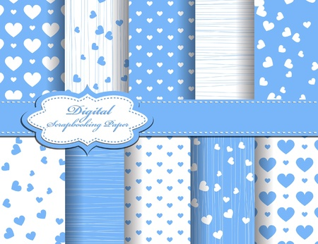 set of Valentines day vector paper for scrapbook Vector